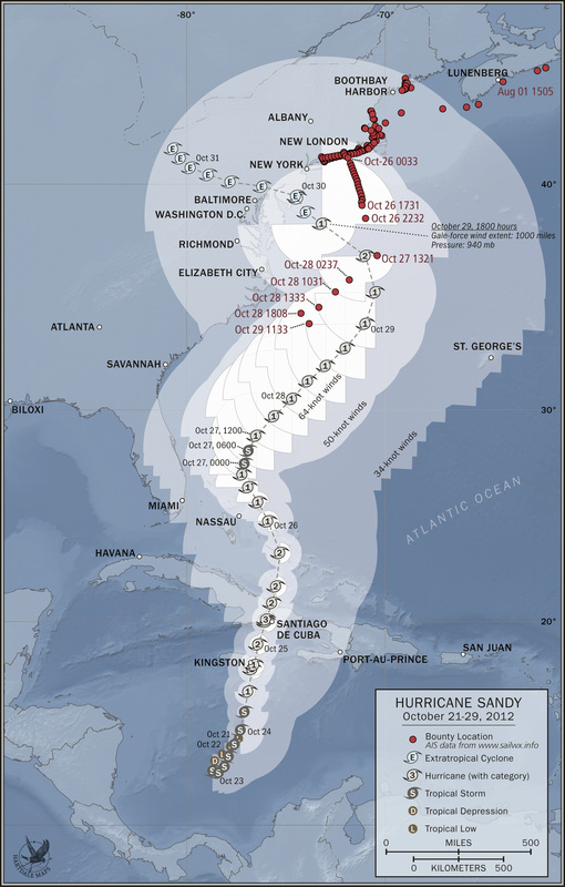 Map of Hurricane Sandy and the course of the Bounty